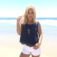 Gold Rush Blouse In Navy