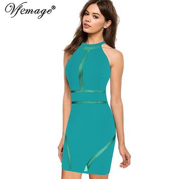 Vfemage Sexy See Through Mesh High Waist Fashion Womens Ladies Slim Cool Chic Casual Party Evening Bodycon Short Mini Dress 4555