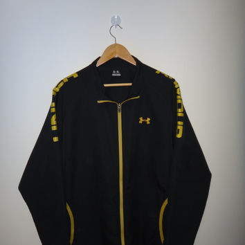 Under Armour Trainer Jacket Pullover Zip Up  Sweater Warm Up Black Men Clothing Jacket