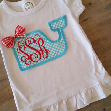 Girls Applique' Initial Whale Shirt