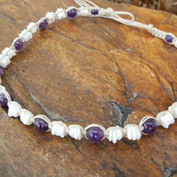 Puka Shell Choker, Amethyst, Womens Hemp Necklace, Puka Shell Necklace, Handmade, Hemp Jewelry, Beach Jewelry, Gift, Choker, Surfer Girl