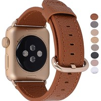 Apple Watch Band 38mm Women - PEAK ZHANG Light Brown Genuine Leather Replacement Wrist Strap with Gold Adapter and Buckle for iWatch Series 2/ 1/Edition/Sport