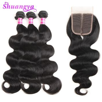 Shuangya Brazilian Body Wave With Lace Closure Human Hair 3 Bundles With Closure Free Part Natural Color Non Remy Hair Weaves