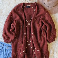 Velvet & Tie Sweater in Rusted Merlot