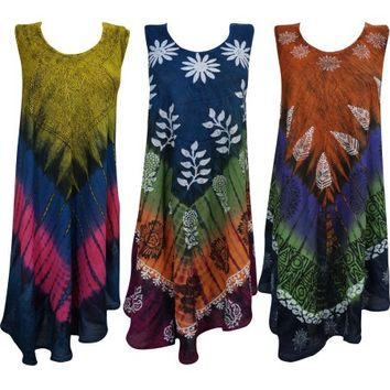 Mogul Womens Beach Cover Caftan Dress Sleeveless Tie Dye Summer Fashion Tank Dresses Lot Of 3 L - Walmart.com