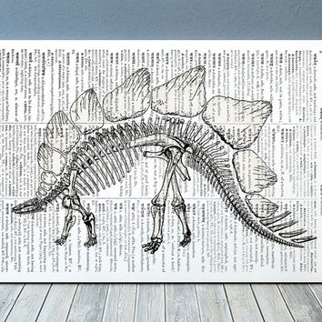 Dino skeleton print Dictionary art Medical poster Anatomy print RTA1176