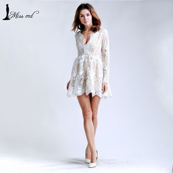 Free Shipping Missord 2016  Deep v sexy lace long sleeve stitching flesh lining dress FT5017