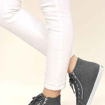 Superga 2224 POLYWOOLW Grey High-Top Sneakers