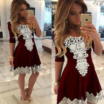 Red Patchwork Lace Draped Pleated Round Neck Skater Cute Mini Dress