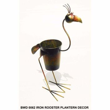 D Art Collection Iron Standing Rooster PlanterDecor