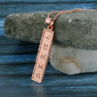 Egyptian Nameplate Necklace, Rose Gold Plated, Silver, Personalized Name in English & Hieroglyphic Letters, Flat Square, CR007C