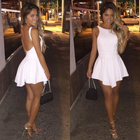 White Sleeveless Open Back Asymmetric Hem Mini Dress