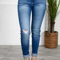Medium Wash Distressed Skinny Denim