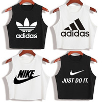 """Nike"" ""Adidas""Fashion Casual Classic  Letter Print Round Neck Sleeveless Vest T-shirt Crop Tops"