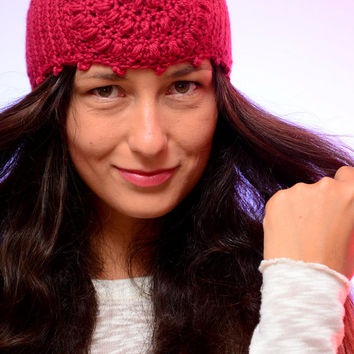 Garnet headband, hippie style ear warmer, Crochet headband,winter headband,  crochet ear warmer, merino wool ear warmer, warm boho headband.