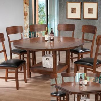 7 pc Conner round / square oak finish wood drop leaf dining table set with built in lazy susan