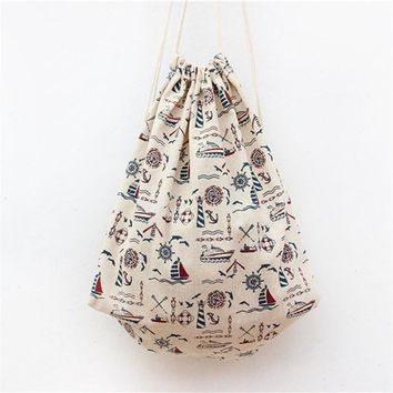 2017 New Brand Drawstring Backpacks Cotton&Linen Ship Anchor Travel Softback Man Women Kids School  Bags A9