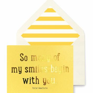So Many Of My Smiles Begin With You Greeting Card, Single Folded Card or Boxed Set of 8