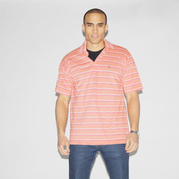 1990s Vintage Tommy Hilfiger Salmon Striped Polo Shirt