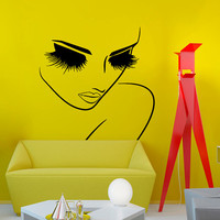 Wall Decal Vinyl Sticker  Women With Long Lashes Closeup Beauty Saloon Art Design Room Nice Picture Decor Hall Wall Chu913