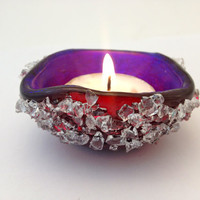 Candle Holder Fused Fuchsia Glass Tea Light with Plum Dichroic Glass  Interior 211