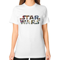 Star Wars Character Logo Unisex T-Shirt (on woman)