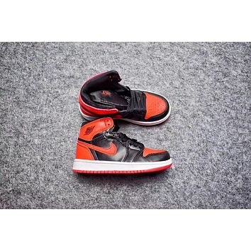 Nike Air Jordan Retro 1 High Banned Kid Basketball Shoes for Youth Boys and Child