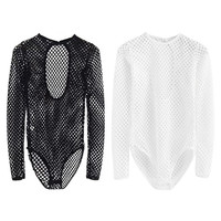 Women Mesh Fishnet Bodysuit Slim Long Sleeve Leotard Jumpsuit Top T-shirt Blouse