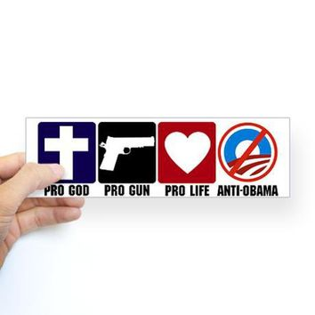 Pro God Guns Life Anti Obama Sticker (Bumper) on CafePress.com