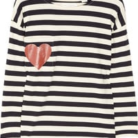 Chinti and Parker | Heart-print striped organic cotton top | NET-A-PORTER.COM