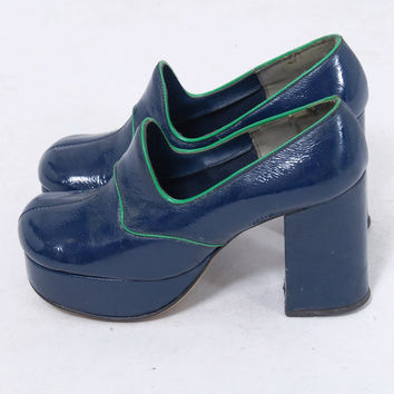 Vintage 70s PLATFORM Shoes Blue & Green Faux Leather Shoes DISCO Shoes 60s Shoes GLAM Rocker Chunky Heels Size 5.5