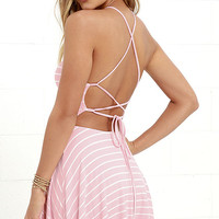 In Formation Pink Striped Lace-Up Dress
