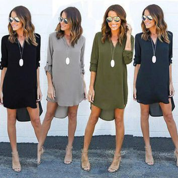 2017 Hot Women Blouse Chiffon Long Sleeves Blouse Shirts V-neck Casual Loose Long Shirt Tops Outfits Summer Office Sunsuit Top