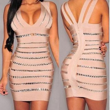 DCCKIX3 sexy bandage midi dresses women summer bodycon backless new fashion club v-neck elegant party evening slim dress = 1946117508