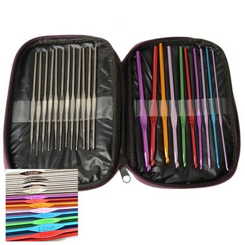 Nicedeco 22pcs Aluminum Crochet Hooks Knitting Needles Case Yarn Kit Set with Case = 1958133380