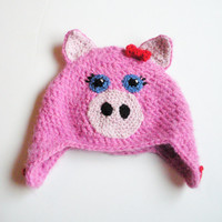 Little Piglet Hat, infants 0-24 months, MADE TO ORDER.