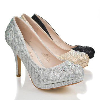 Robin46 Black Sparkle by Sully's, Sparkle Glitter Formal Evening Dance Women's Classic Pump New