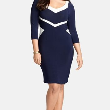 Plus Size Women's Lauren Ralph Lauren Colorblock V-Neck Jersey Sheath Dress