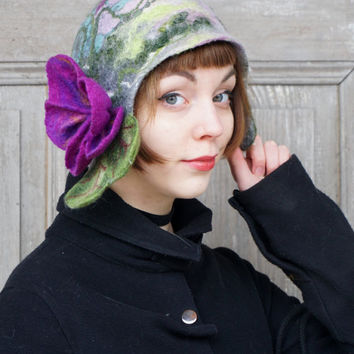 Unique felted cloche hat, retro style hat with purple violet flower, bohemian spring wool hat, stylish woman hat, designer fashion, OOAK