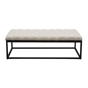 Mateo Black Powder Coat Metal Large Linen Tufted Bench - Desert Sand Linen