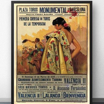 Bullfight Vintage Ad Barcelona Spain 1935 Corrida Movie Wall Art Paint Decor Canvas Prints Poster Oil Paintings No Frame