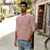 Long Sleeve T Shirts Men Autumn New Slim Fit Pure Cotton Striped Breton Top Male T Shirt