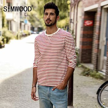 af308c169f2ce Long Sleeve T Shirts Men Autumn New Slim Fit Pure Cotton Striped Breton Top  Male T