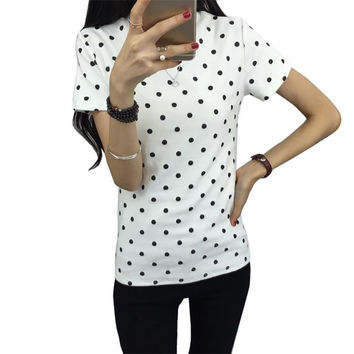 Hot Sale! Summer Women O-Neck Short Sleeve T-shirt Casual Polka Dot Female Ladies T-shirts Tees Tops