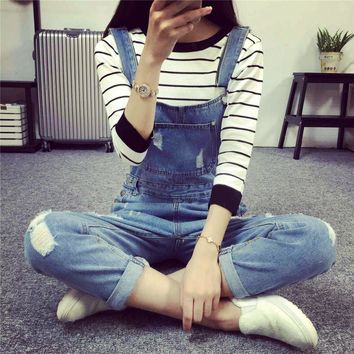 2017 Fashion Korean New Women Jumpsuit Denim Overalls Casual Skinny Girls Pants Jeans Cheap Girls overalls Pants