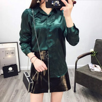 Women Satin Silky Shirt Formal Dress Shirts Tuxedo Shimmer Glitter Shiny Work Office Lady Chic Elegant Button Down Fashion New