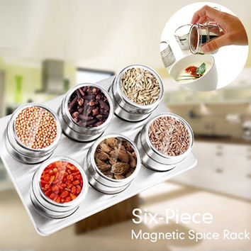 Set of 6 Stainless Steel Magnetic Spice Rack