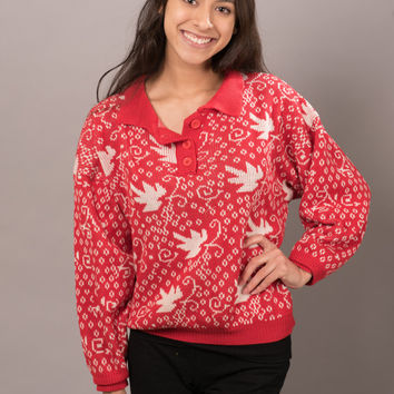 Classic Cutesy 1980s Red & White Leaf Sweater