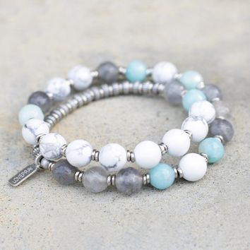 Renewal, Howlite and Amazonite 27 Bead Wrap Mala Bracelet
