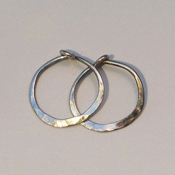 Solid 14k White Gold Hoops Small, Half Inch Minimalist Hammered White Gold, Tiny Hoop Earings, 12 mm Everyday Sleepers with Locking Clasp